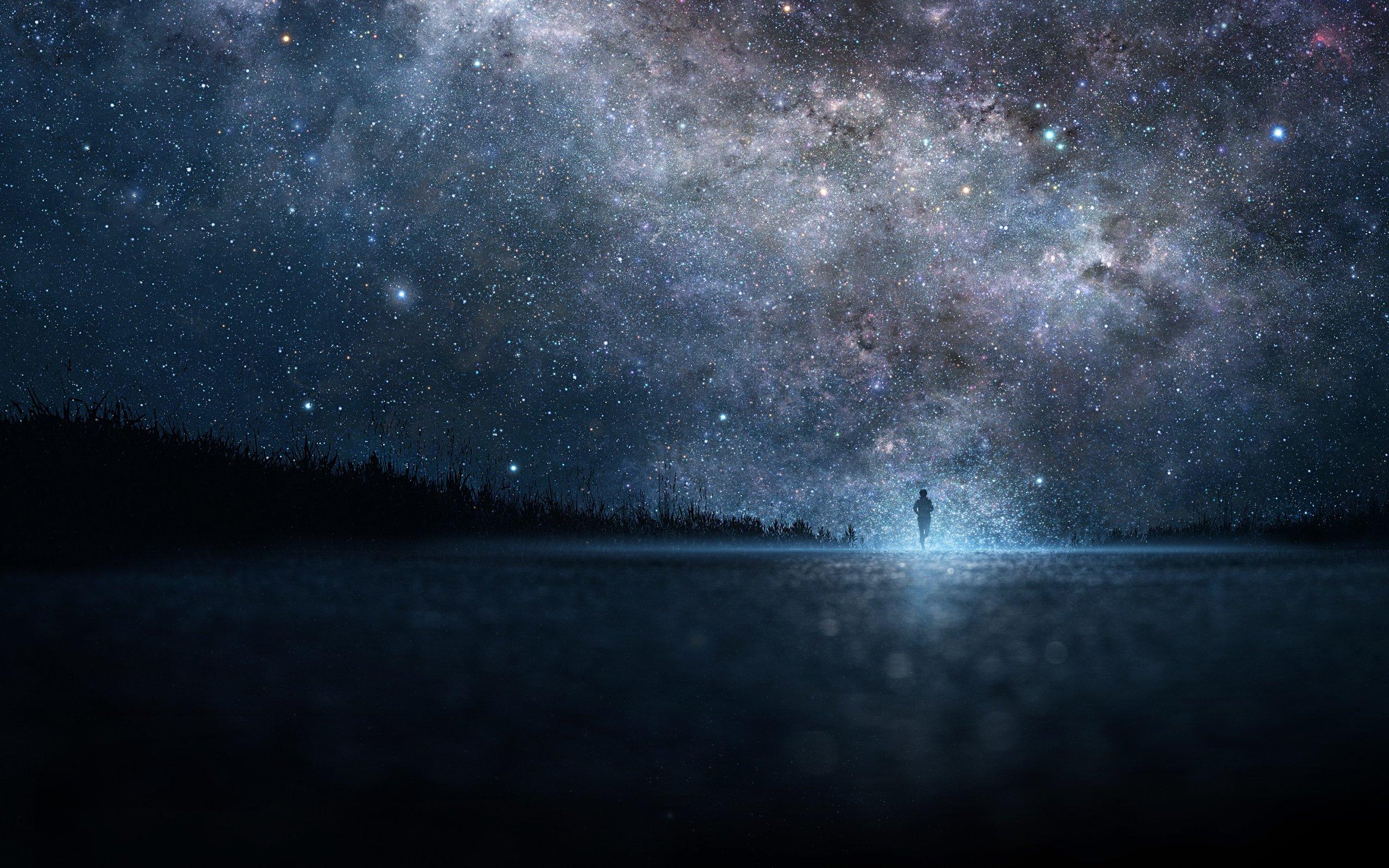 Foto Homem Correndo para um céu de estrelas